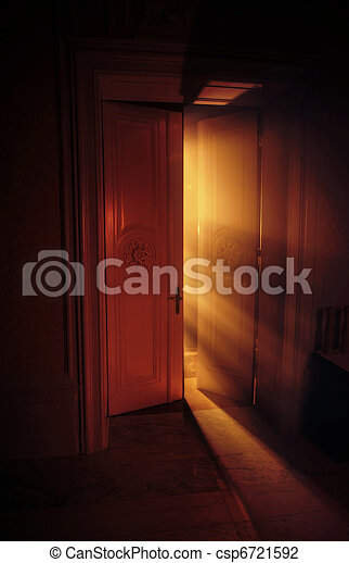 celeste, luce, dietro, raggi, porta - csp6721592