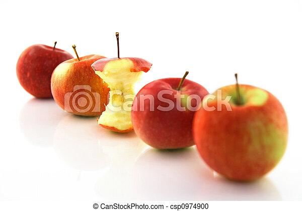 centro, mele, mela intera, fuoco - csp0974900