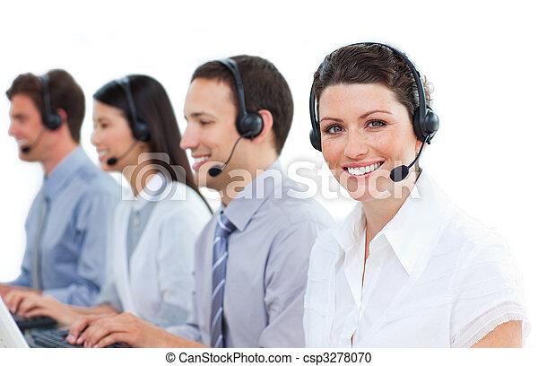 centro, positivo, lavorativo, chiamata, agenti, assistenza clienti - csp3278070