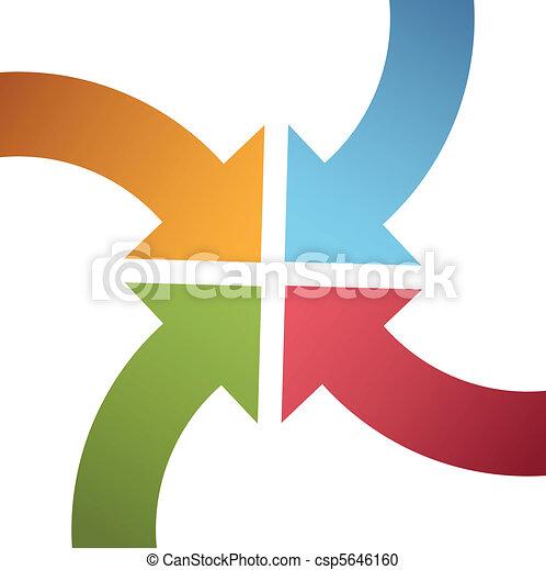 centro, punto, colorare, curva, frecce, convergere, quattro - csp5646160