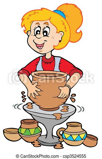 ceramica, ragazza, cartone animato - csp3524555