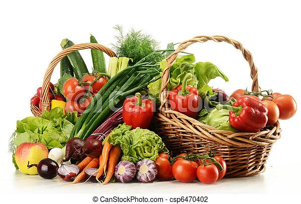 cesto, vimine, verdura, composizione, crudo - csp6470402