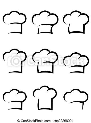 chef, nero, set, cappello - csp23368024