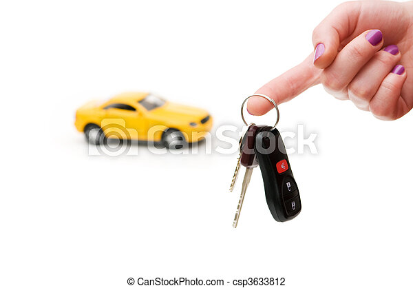 chiavi, automobile, bianco, isolato, fondo - csp3633812