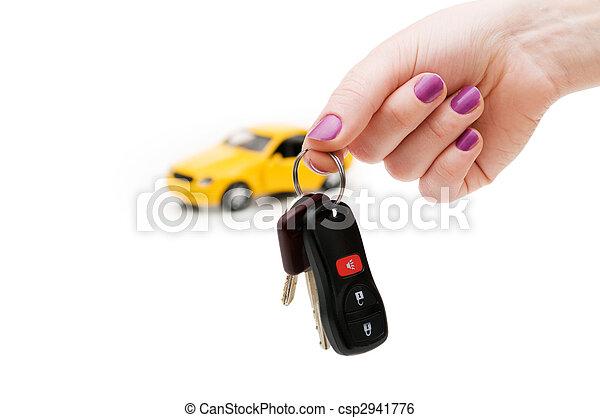 chiavi, automobile, bianco, isolato, fondo - csp2941776