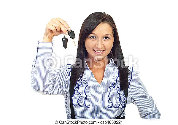 chiavi, donna macchina, giovane, presa a terra - csp4650221