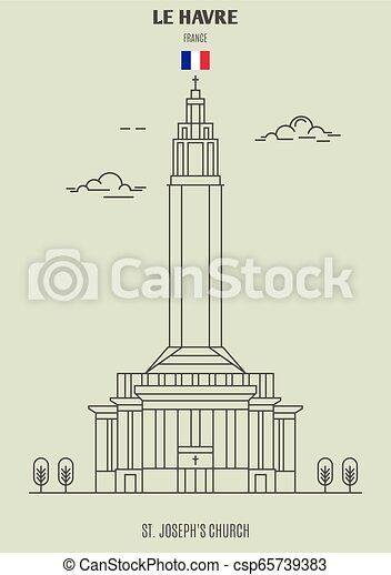 chiesa, havre, icona, punto di riferimento, le, france., joseph's, st. - csp65739383