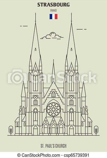 chiesa, paul, icona, strasburgo, punto di riferimento, france., st. - csp65739391