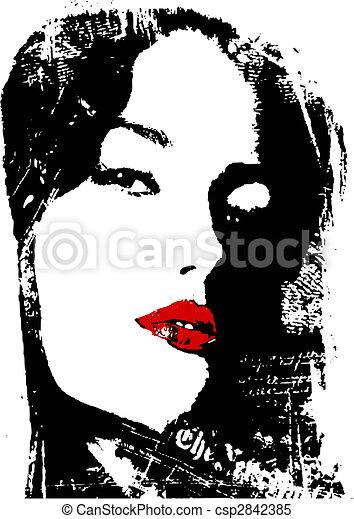 chiudere, donna, su, manifesto - csp2842385