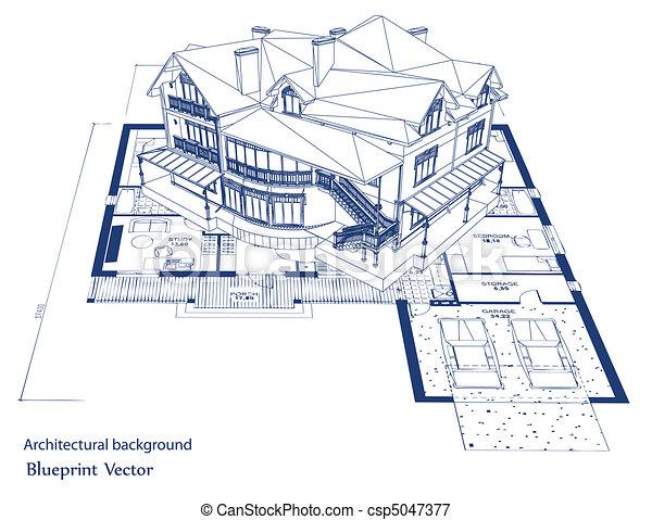 cianografia, vettore, house., architettura - csp5047377