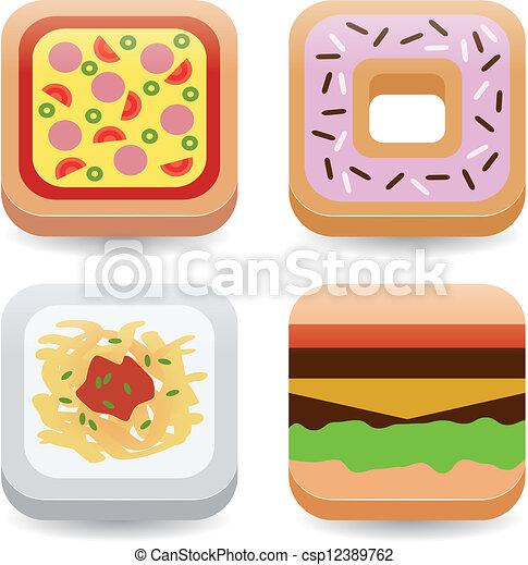 cibo, domanda, icone - csp12389762
