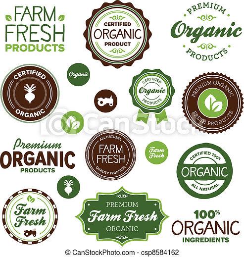 cibo, etichette, organico - csp8584162