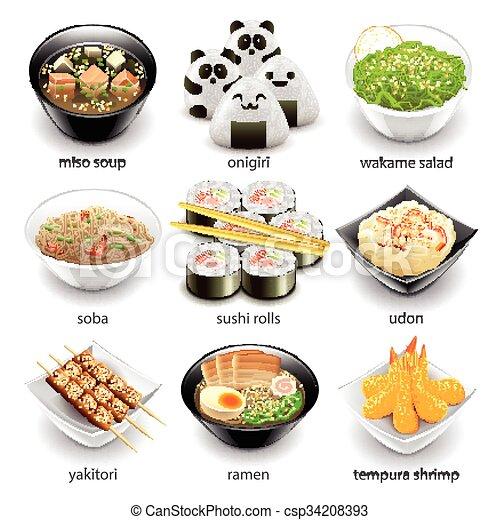 cibo, giappone, vettore, set, icone - csp34208393