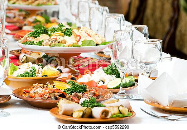 cibo, tavola, decorazione, set, ristorazione - csp5592290