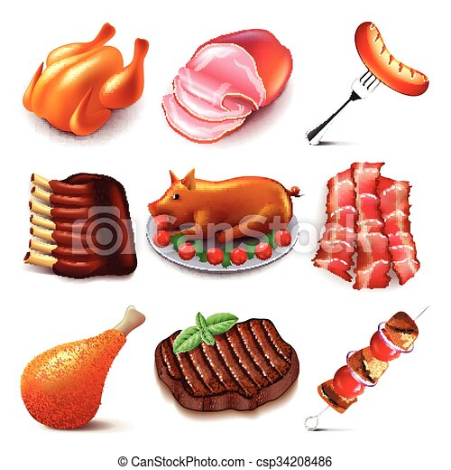 cibo, vettore, set, carne, icone - csp34208486
