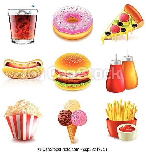 cibo, vettore, set, digiuno, icone - csp32219751
