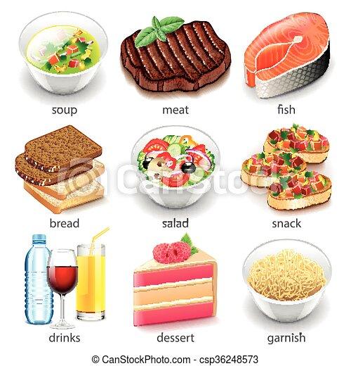 cibo, vettore, set, tipi, icone - csp36248573