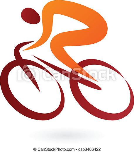 ciclista, vettore, -, illustrazione, icona - csp3486422