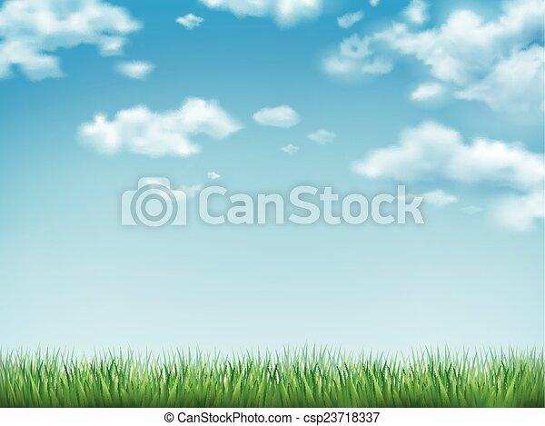 cielo blu, erba, campo verde - csp23718337