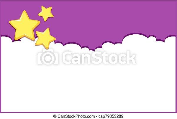 cielo, fondo, disegno, viola, sagoma, stelle - csp79353289