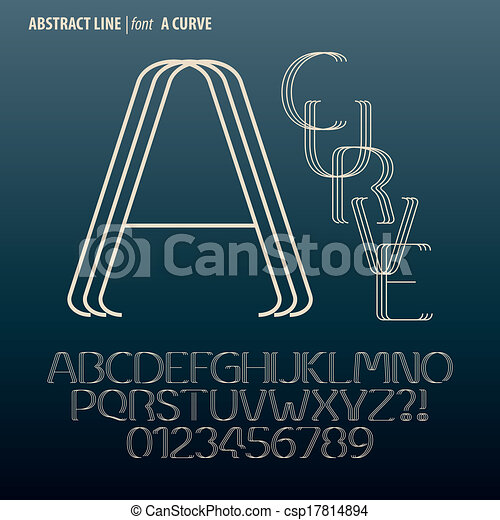 cifra, alfabeto, astratto, curva, vettore, linea - csp17814894