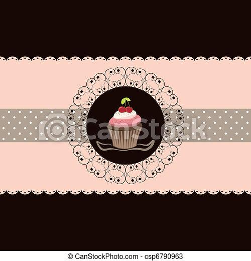 ciliegia, cupcake, scheda, invito - csp6790963