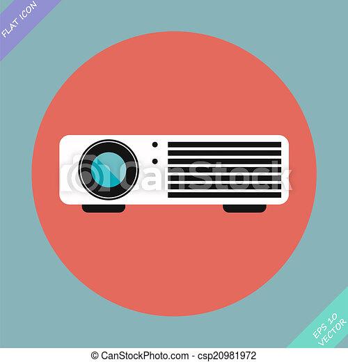 cinema, vettore, -, illustration., proiettore - csp20981972