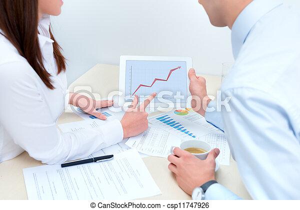 circa, affari, successo, persone, vendite, discutere - csp11747926