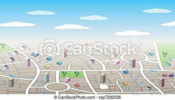 città, 3d, mappa - csp7292036