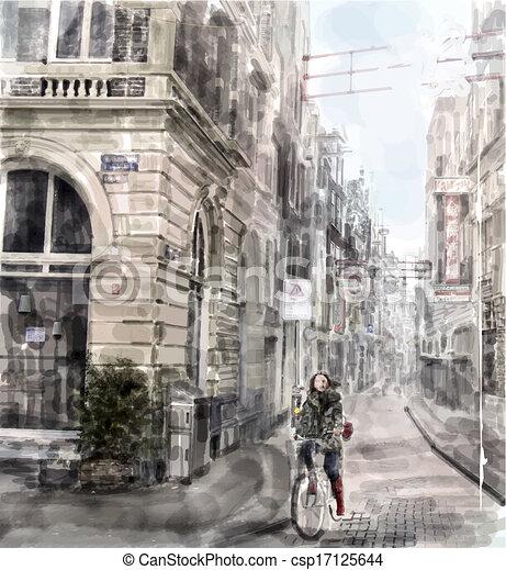 città, acquarello, bicycle., ragazza, strada., sentiero per cavalcate, style., illustrazione - csp17125644