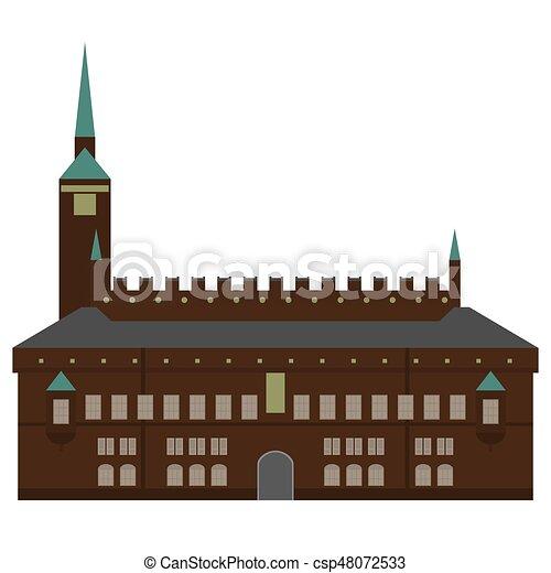 città, appartamento, set, elements., icone, danimarca, style., città, architettura, sights., punto di riferimento, disegno, copenaghen, salone, danese - csp48072533