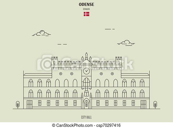 città, denmark., odense, punto di riferimento, salone, icona - csp70297416