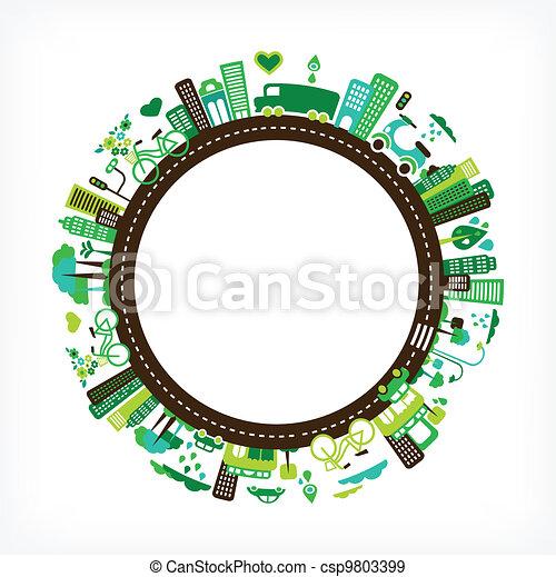 città, ecologia, -, ambiente, verde, cerchio - csp9803399