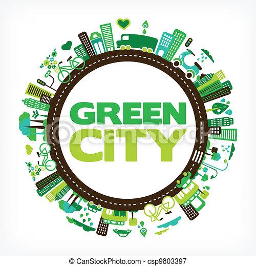 città, ecologia, -, ambiente, verde, cerchio - csp9803397