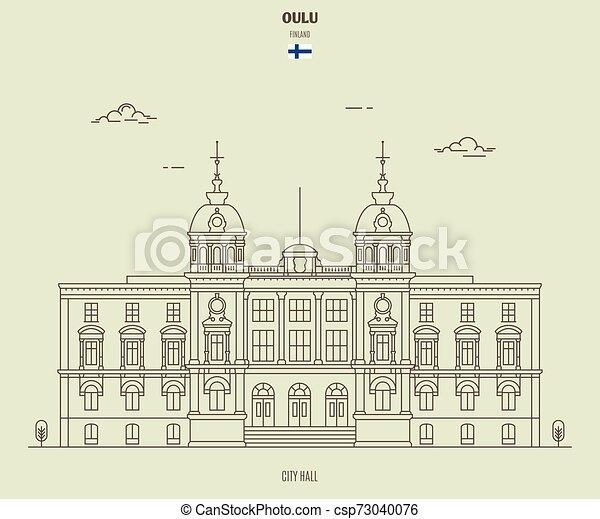 città, finland., oulu, punto di riferimento, salone, icona - csp73040076
