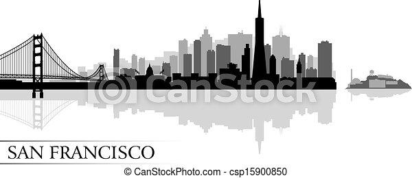 città, francisco, silhouette, san, orizzonte, fondo - csp15900850