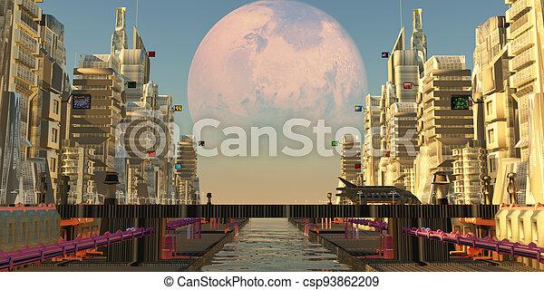 città, luna, marte - csp93862209