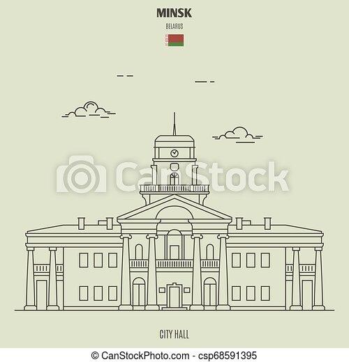 città, minsk, belarus., punto di riferimento, salone, icona - csp68591395