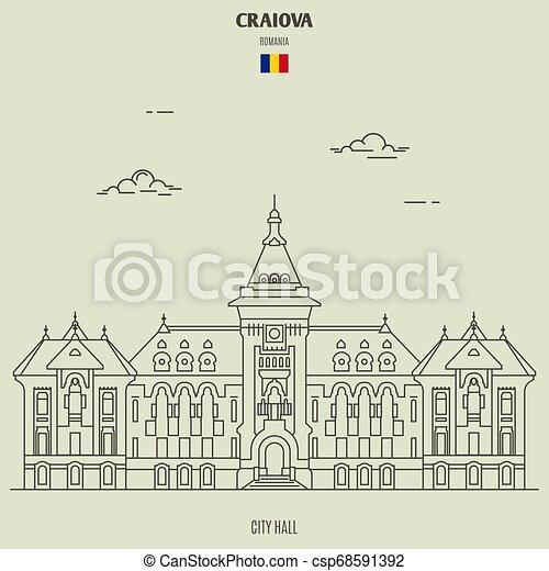 città, romania., craiova, punto di riferimento, salone, icona - csp68591392