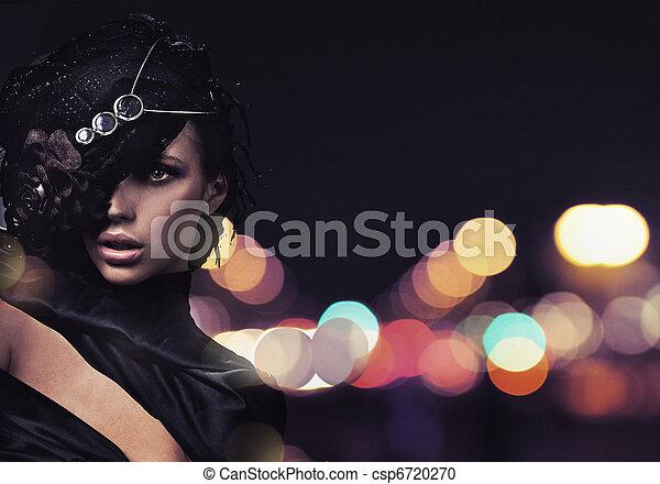 città, sopra, moda, signora, fondo - csp6720270