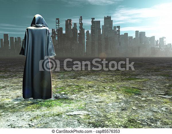 città, viaggiatore, distrutto, prima - csp85576353