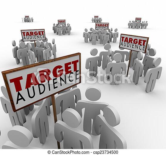 clienti, bersaglio, demo, prospettive, pubblico, gruppi, segni - csp23734500