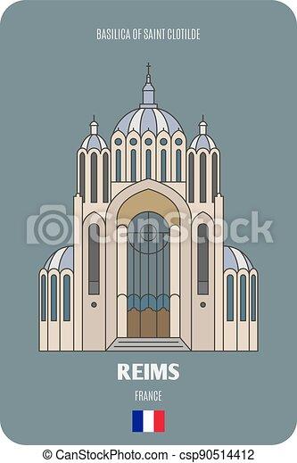 clotilde, reims, francia, santo, basilica - csp90514412