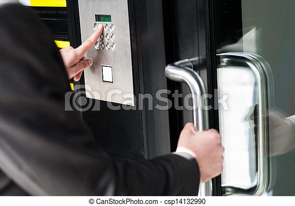 codice, porta, aprire, entrare, uomo sicurezza - csp14132990