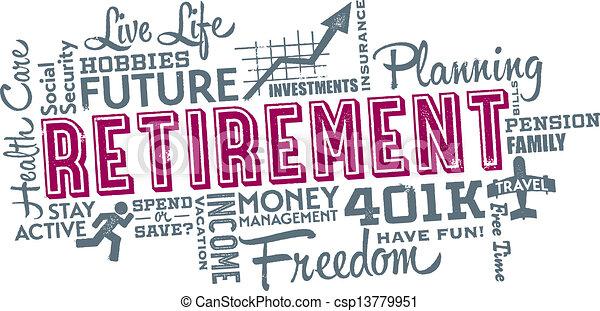 collage, pensionamento, pianificazione, parola - csp13779951