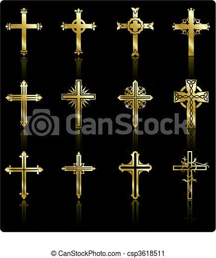 collezione, dorato, disegno, croce, religioso - csp3618511