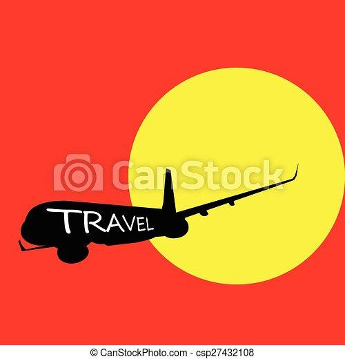 colorare, aeroplano, vettore, viaggiare - csp27432108
