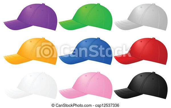 colorare, berretti baseball - csp12537336