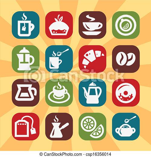 colorare, caffè, tee, icone - csp16356014