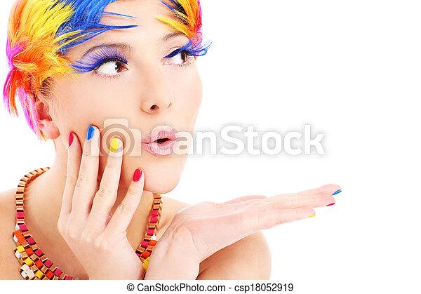 colorare, capelli, faccia donna - csp18052919